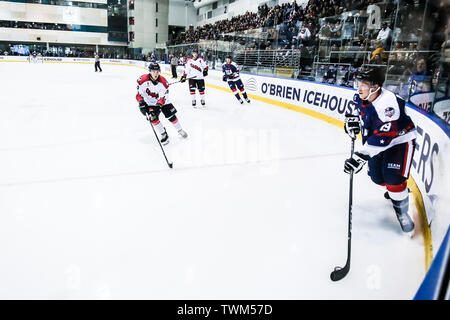 Melbourne, Australia. 21st June, 2019. JUNE 21: Johnny Austin of USA in the 2019 Ice Hockey Classic in Melbourne, Australia Credit: Chris Putnam/ZUMA Wire/Alamy Live News - Stock Photo