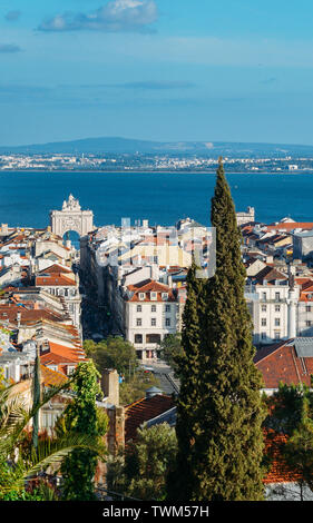 Lisbon, Portugal cityscape overlooking Baixa downtown area. Visible landmarks include: Rossio Square, Rua Augusta and the Triumphal Arch, Praca Comerc - Stock Photo