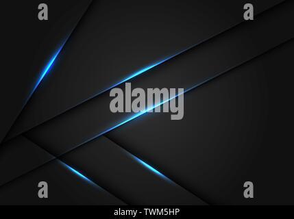Abstract blue light dark grey metallic overlap design modern futuristic technology background vector illustration. - Stock Photo