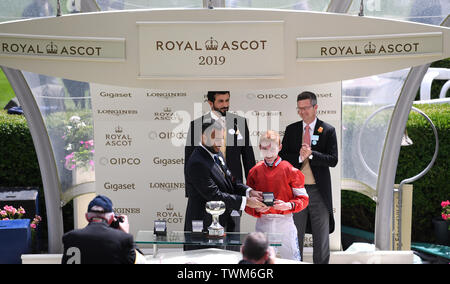 Ascot Racecourse, Windsor, UK. 21st June, 2019. Royal Ascot Horse racing; Race1; The Albany Stakes; David Egan receives the winning Jockey's medal Credit: Action Plus Sports/Alamy Live News - Stock Photo