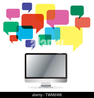 computer with colorful chat box , message box communication background - Stock Photo
