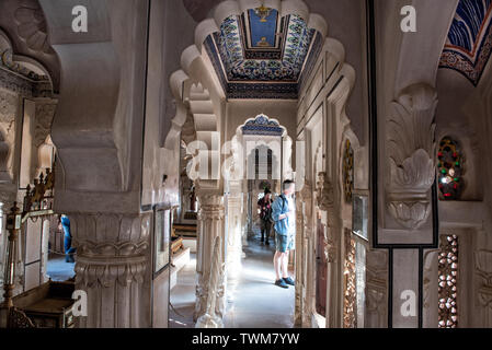 A close up of intricate fine art work of Mehrangarh Fort Interior and its architecture - Stock Photo