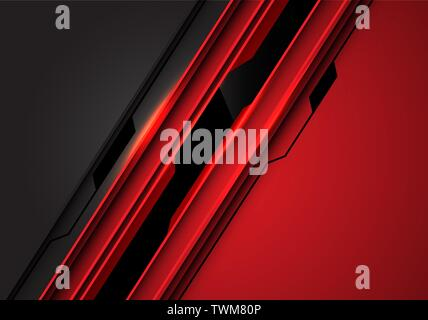 Abstract black line circuit on red grey metallic design modern futuristic technology background vector illustration. - Stock Photo