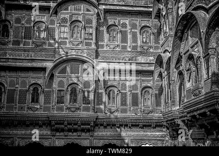 A close-up of Jharokha or window of Mehrangarh Fort of Jodhpur,a heritage art work of Rajasthan expressed in Black&White impression. - Stock Photo