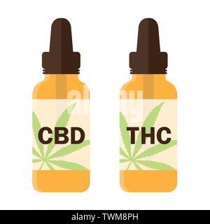 cbd and thc cannabis oil phial vector illustration EPS10 - Stock Photo