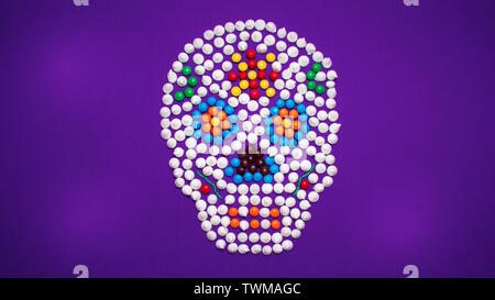 Day of the dead sugar skull made of colorful candies. - Stock Photo