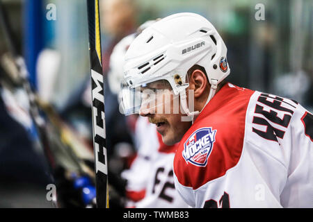 Melbourne, Australia. 21st June, 2019. JUNE 21: Shane Heffernan of Canada in the 2019 Ice Hockey Classic in Melbourne, Australia Credit: Chris Putnam/ZUMA Wire/Alamy Live News - Stock Photo