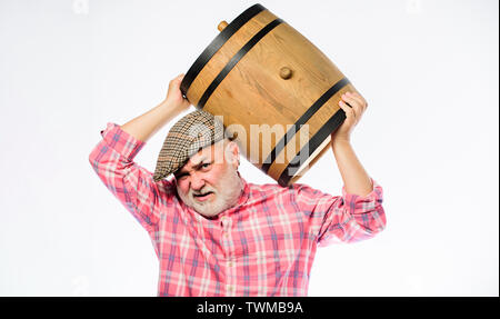 Homemade wine. Winery concept. Man bearded senior carry wooden barrel for wine white background. Producing wine family tradition. Fermentation product. Natural wine made out of organic grapes. - Stock Photo