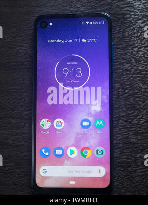 Belgrade, Serbia – June 17th 2019: New Motorola One Vision Phone, front view - Stock Photo