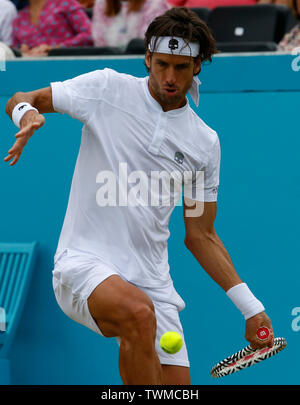London, UK. 21st June, 2019. LONDON, ENGLAND - JUNE 21: Feliciano Lopez (ESP) against Milos Raonic (CAN) during Day 5 of the Fever-Tree Championships at Queens Club on June 21, 2019 in London, United Kingdom. Credit: Action Foto Sport/Alamy Live News - Stock Photo