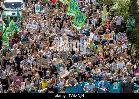 First international climate protection demonstration, climate strike, the movement Fridays for Future, in Aachen, with tens of thousands of participan - Stock Photo