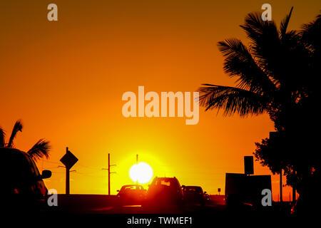 Sunset on the Florida Keys  Overseas Highway ('Seven-Mile Bridge') in Marathon, Florida, USA. - Stock Photo