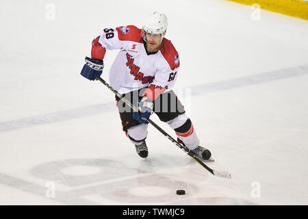 21st June 2019, O'Brien Group Arena, Melbourne, Victoria, Australia; 2019 Ice Hockey Classic, Canada versus USA; Shane Heffernan of Canada skates with the puck Credit: Action Plus Sports Images/Alamy Live News - Stock Photo