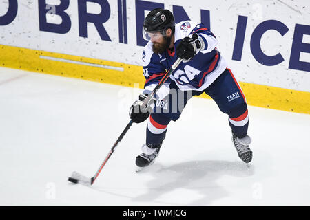 21st June 2019, O'Brien Group Arena, Melbourne, Victoria, Australia; 2019 Ice Hockey Classic, Canada versus USA; Josh Harris of USA skates with the puck Credit: Action Plus Sports Images/Alamy Live News - Stock Photo
