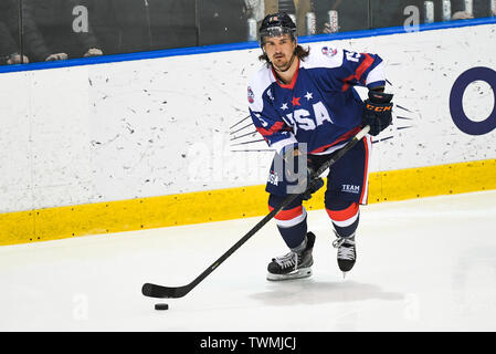 21st June 2019, O'Brien Group Arena, Melbourne, Victoria, Australia; 2019 Ice Hockey Classic, Canada versus USA; Mitch Callahan of USA skates with the puck Credit: Action Plus Sports Images/Alamy Live News - Stock Photo