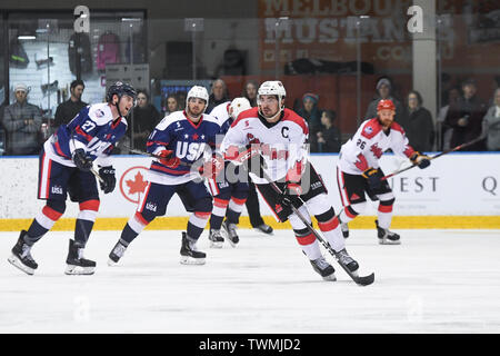 21st June 2019, O'Brien Group Arena, Melbourne, Victoria, Australia; 2019 Ice Hockey Classic, Canada versus USA; Nick Paul of Canada moves the puck through the midfield Credit: Action Plus Sports Images/Alamy Live News - Stock Photo