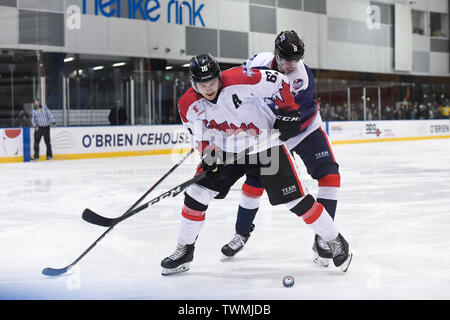Melbourne, Victoria, Australia. 21st June 2019. 2019 Ice Hockey Classic, Canada versus USA; Nick Aube-Kubel of Canada takes control of the puck Credit: Action Plus Sports Images/Alamy Live News - Stock Photo