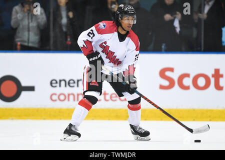 21st June 2019, O'Brien Group Arena, Melbourne, Victoria, Australia; 2019 Ice Hockey Classic, Canada versus USA; Jordan Owens of Canada moves the puck forward Credit: Action Plus Sports Images/Alamy Live News - Stock Photo