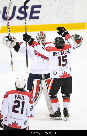 21st June 2019, O'Brien Group Arena, Melbourne, Victoria, Australia; 2019 Ice Hockey Classic, Canada versus USA; Chris Driedger and James Bettauer of Canada celebrate their win Credit: Action Plus Sports Images/Alamy Live News - Stock Photo