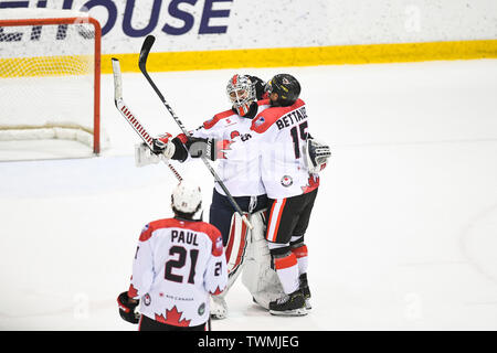 Melbourne, Victoria, Australia. 21st June 2019. 2019 Ice Hockey Classic, Canada versus USA; Chris Driedger and James Bettauer of Canada celebrate their win Credit: Action Plus Sports Images/Alamy Live News - Stock Photo