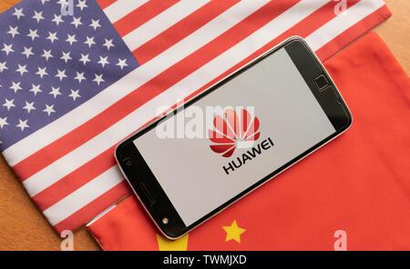 Bangalore, India, June 4, 2019 Huawei Logo in Mobile on