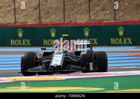 Marseille, France. 21st Jun 2019. FIA Formula 1 Grand Prix of France, practice sessions; Alfa Romeo Racing, Antonio Giovinazzi Credit: Action Plus Sports Images/Alamy Live News - Stock Photo