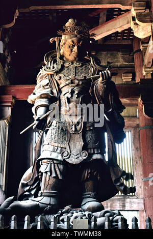 Inside the Daibutsuden, Great Buddha Hall, of the Todaiji Temple, in Nara, Japan - Stock Photo