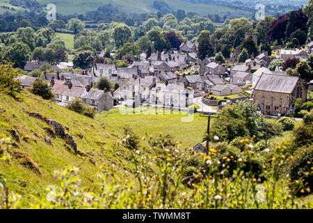 Brassington Village Scenic View Looking Down From the Rolling Hills of Wirksworth Dale Picnic Site,Derbyshire UK - Stock Photo