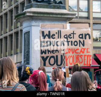 Glasgow, Scotland, UK. 21st June 2019. Young people protesting against  Climate change at George Square in Glasgow. - Stock Photo