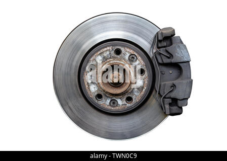 Front brake discs with caliper and brake pads in the car, isolated on a white background with a clipping path. - Stock Photo