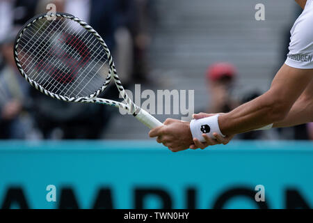 Queen Club, London, UK. 21st June, 2019. The ATP Fever-Tree Tennis Tournament; Detail view of the racket used by Feliciano Lopez (ESP) Credit: Action Plus Sports/Alamy Live News - Stock Photo