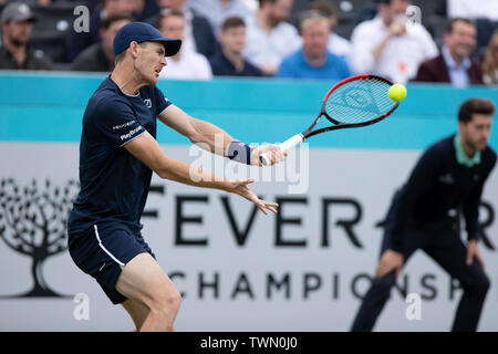 Queen Club, London, UK. 21st June, 2019. The ATP Fever-Tree Tennis Tournament; Jamie Murray (GBR) with a forehand shot Credit: Action Plus Sports/Alamy Live News - Stock Photo