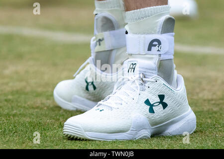 Queen Club, London, UK. 21st June, 2019. The ATP Fever-Tree Tennis Tournament; Detail view of the shoes worn by Andy Murray (GBR) Credit: Action Plus Sports/Alamy Live News - Stock Photo