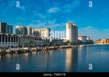 Tampa Bay, Florida. April 28, 2019 . Luxury boats on Harbour Island dockside on sunrise background (1) - Stock Photo