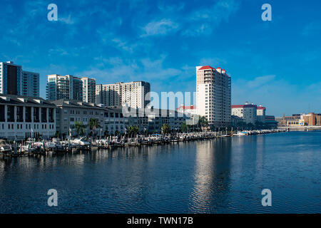 Tampa Bay, Florida. April 28, 2019 . Luxury boats on Harbour Island dockside on sunrise background (2) - Stock Photo