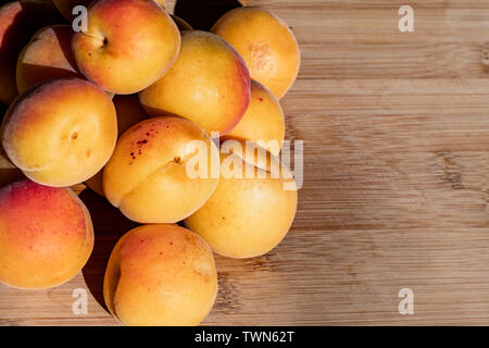 Close up of ripe Blenheim apricots freshly picked, on a wooden table, California - Stock Photo