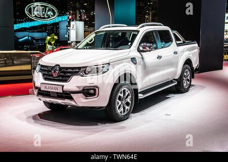 Paris, France, October 02, 2018: metallic white Renault Alaskan pickup truck at Mondial Paris Motor Show, produced by Renault - Stock Photo