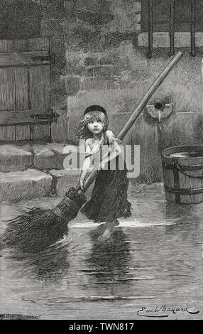Émile Bayard, Cosette sweeping, 1862, reproduced in Victor Hugo, Les Misérables - Stock Photo