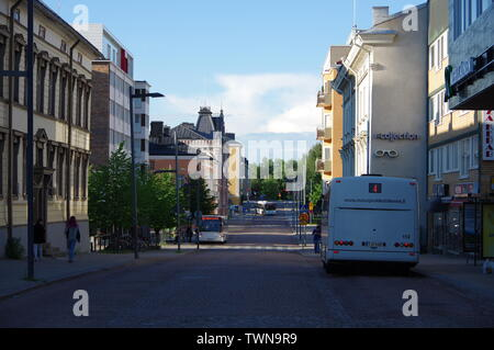 Buses in Oulu city center - Stock Photo