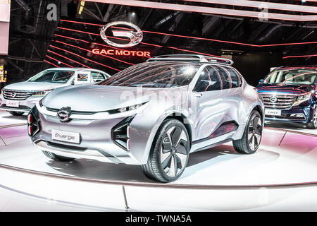 Paris, France, Oct 08, 2018 GAC Motor Enverge electric SUV concept car at Mondial Paris Motor Show, prototype car produced by Chinese GAC Motor - Stock Photo