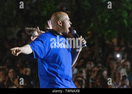Columbia, United States. 21st June, 2019. Democratic presidential hopeful Sen. Cory Booker addresses the crowds gathered at the Jim Clyburn World Famous Fish Fry June 21, 2019 in Columbia, South Carolina. The event kicks off the South Carolina Democratic Convention weekend and 22 Democratic candidates plan to attend the event. Credit: Planetpix/Alamy Live News