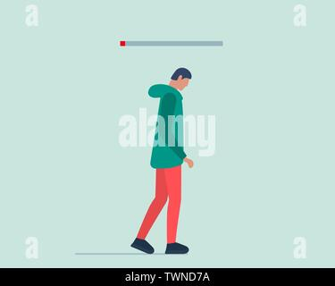 Burnout syndrome concept. Young tired male without work or life energy. Depression and fatigue vector illustration - Stock Photo