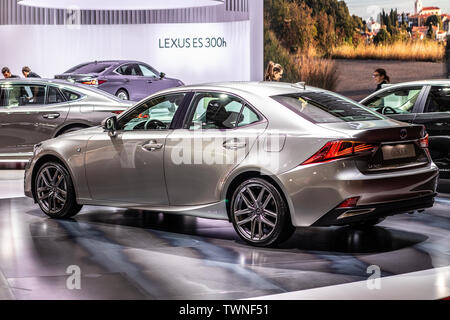 Paris, France, Oct 2018 silver LEXUS IS 300h hybrid SPORTS SALOON BOLDLY DIFFERENT at Mondial Paris Motor Show, produced by Japanese car maker Lexus - Stock Photo