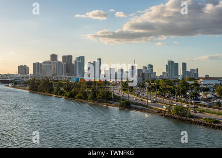 Miami, FL, United States - April 20, 2019:  Miami cityscape and view of MacArthur Causeway at Biscayne Bay in Miami, Florida, United States of America