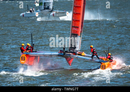 New York, USA,  21 June 2019.  China Team SailGP F50 catamaran sails in the Hudson river during the first race of day one of the SailGP event in New York City.   Credit: Enrique Shore/Alamy Live News - Stock Photo