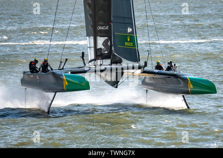 New York, USA,  21 June 2019.  Australia Team SailGP F50 catamaran sails in the Hudson river before the first race of day one of the SailGP event in New York City.   Credit: Enrique Shore/Alamy Live News - Stock Photo