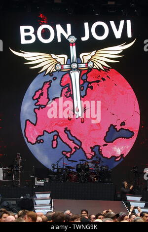 London, UK. 21st June, 2019. Bon Jovi perform on stage during the 'This House Is Not For Sale' tour at Wembley Stadium in London. Credit: SOPA Images Limited/Alamy Live News - Stock Photo