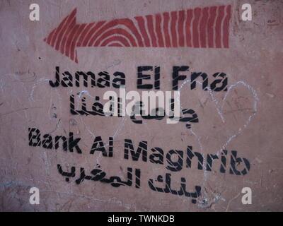 Jamaa el Fna sign in marrakech - Stock Photo