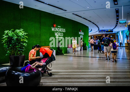 Singapore - Jun 11,  2019: Jewel Changi Airport is a mixed-use development at Changi Airport in Singapore, opened in April 2019. - Stock Photo