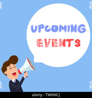 Writing note showing Upcoming Events. Business concept for the approaching planned public or social occasions Young Man Shouting in Megaphone Floating - Stock Photo